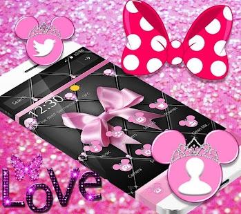Pink Black Minny Bowknot Theme - náhled