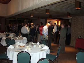 Photo: The throng await dinner