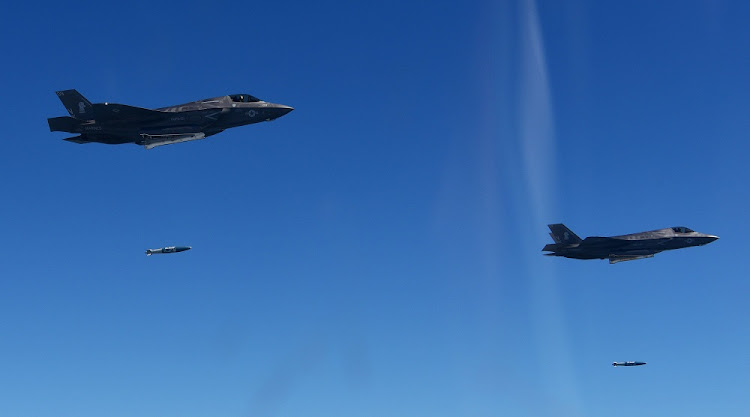 US Marine Corps F-35B fighter jets drop bombs. Picture: REUTERS/KOREAN AIR FORCE/YONHAP