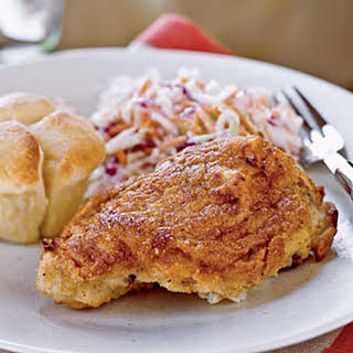 Buttermilk Oven-Fried Chicken with Coleslaw.