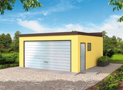 Garaż blaszany dwustanowiskowy z wiatą