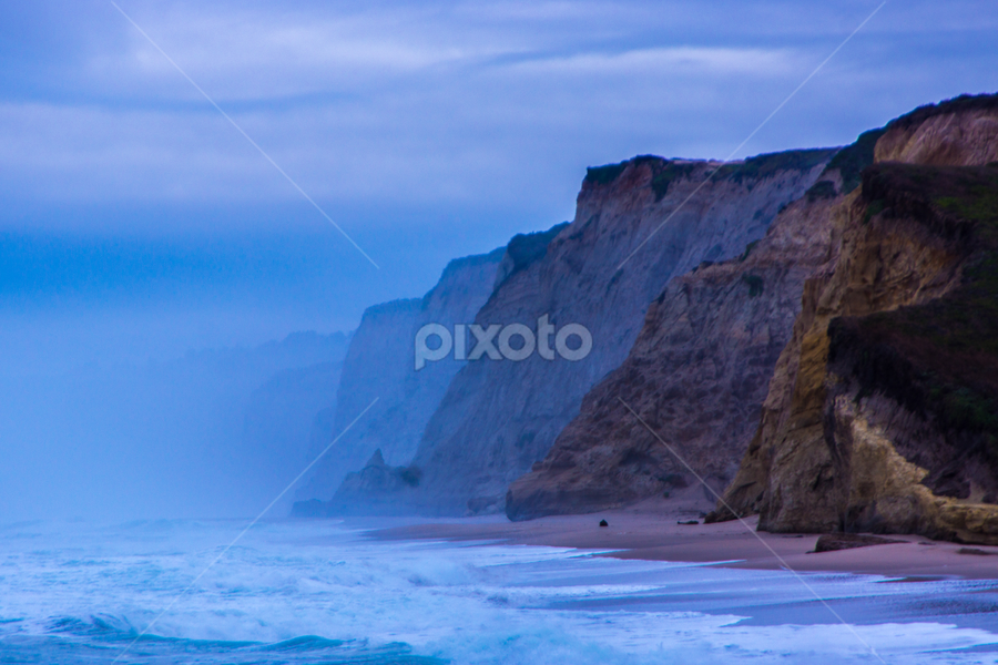 In Coming Fog by Tina Hailey - Landscapes Weather ( monterey, fog, tina's captured moments, california, beach, , serenity, blue, mood, factory, charity, autism, light, awareness, lighting, bulbs, LIUB, april 2nd )