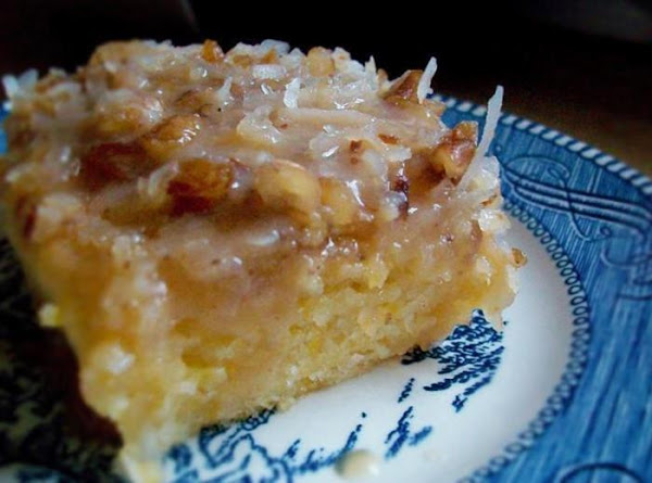 Peach Cake With Coconut Icing Recipe