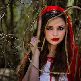 Red Riding Hood by Michele Dan - People Portraits of Women ( red, red riding hood, portraits of women, cape, woman )