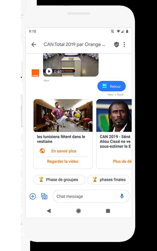 Phone UI showing an RCS message