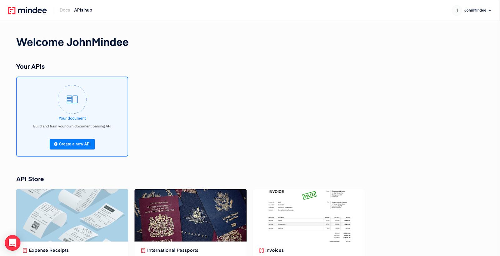Mindee API Builder setup document classification