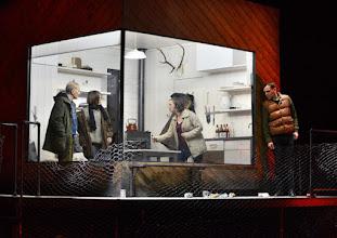 """Photo: EISWIND von Arpad Schilling - ein """"Anti-Orban-Projekt. Premiere am 25.5.2016 im Akademietheater. Inszenierung: Arpad Schilling. Falk Rockstroh,  Alexandra Henkel, Falk Rockstroh, Lilla Sarosdi, Martin Vischer. Copyright;: Barbara Zeininger"""