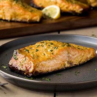Mustard Glazed Grilled Salmon.