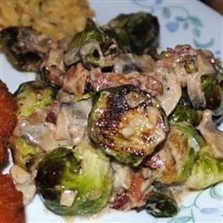 Brussels Sprouts in a Sherry Bacon Cream Sauce.