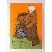 Photo: Sur fond orange, sérigraphie originale sur verre, 60 x 84 cm, 2010, tirage 15 exemplaires numérotés et signés. © Nadja Cohen
