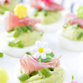 Green Eggs and Ham Deviled Eggs.