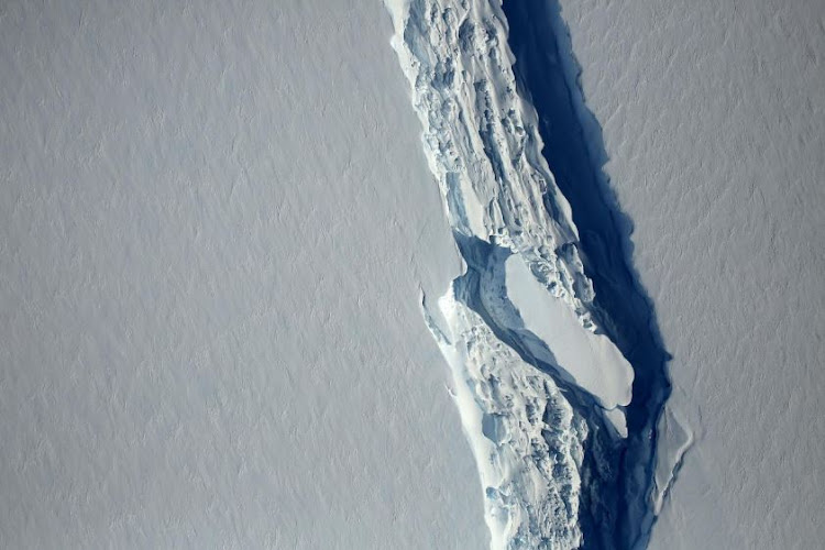 An aerial view of the rift in the Larsen C seen in an image from the Digital Mapping System over the Antarctica Peninsula. NASA's Goddard Space Flight Center/Handout via REUTERS