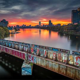 From the BU Bridge by David Long - City,  Street & Park  Skylines