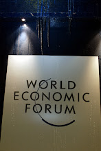 Photo: DAVOS,24JAN03 -The sign of the World Economic Forum outside the Congress center at the 'Annual Meeting 2003' of the World Economic Forum in Davos/Switzerland, January 24, 2003. 