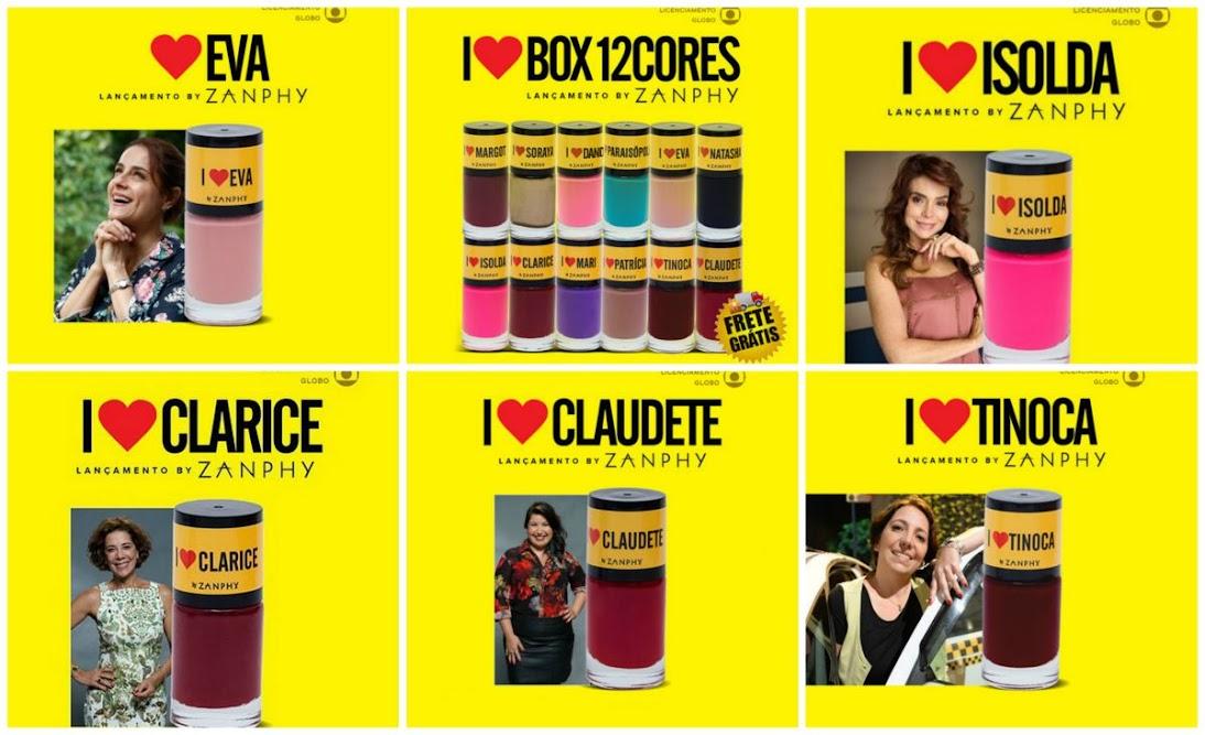 Esmaltes de Eva, Claudete, Isolda, Clarisse e Tinoca I Love Paraisópolis