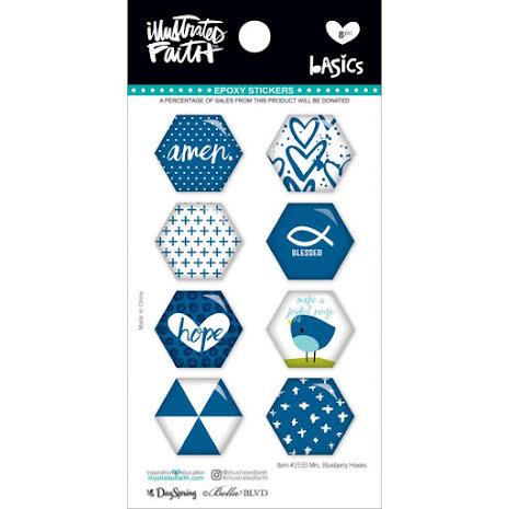Bella Blvd Illustrated Faith Hexies Epoxy Stickers - Mrs. Blueberry UTGÅENDE