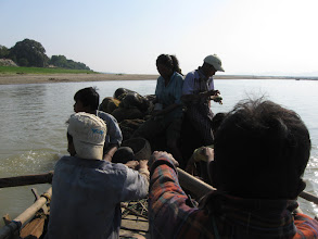 Photo: On a fishing boat on the Ayeyarwaddy river (row boat)