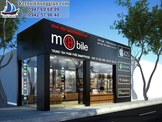 thiết kế shop điện thoại di động hiện đại và chắc chắn
