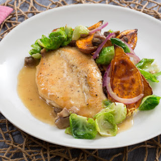 Seared Chicken & Roasted Sweet Potato with Chestnut & Brussels Sprout Pan Sauce