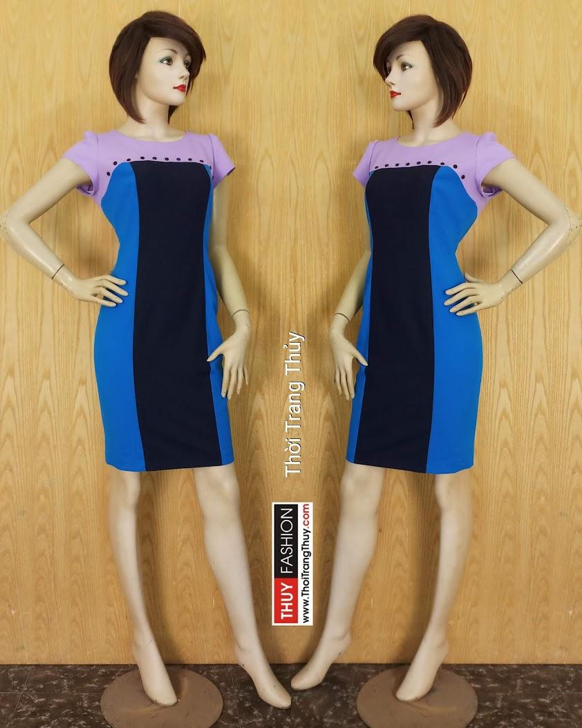Váy liền bút chì công sở phối 3 màu V611 tại Hải Phòng