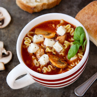 Slow Cooker Lasagna Soup with Chicken and Mushrooms.