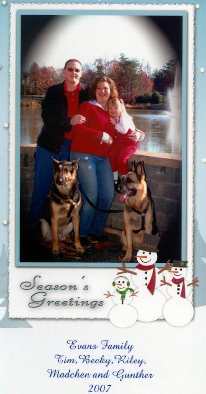 Merry Christmas from TJ, Becky, Riley, Madchen and Gunther!