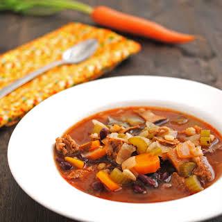 Beef, Vegetable and Barley Soup.