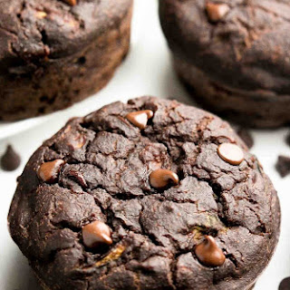 Healthy Double Chocolate Zucchini Muffins.