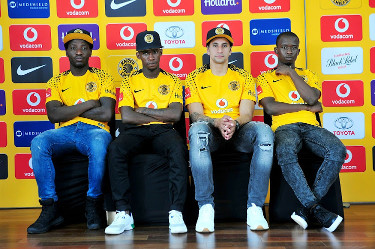 Kaizer Chiefs' new signings Siphelele Ntshangase, Kabelo Mahlasela, Leonardo Castro and Siphosakhe Ntiyantiya pose for a photo during the club's media briefing at Chiefs Village in Johannesburg yesterday.