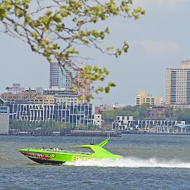 The Green Boat by Joatan Berbel - City,  Street & Park  Vistas ( cityscapes, paysage, green, vista, boat )