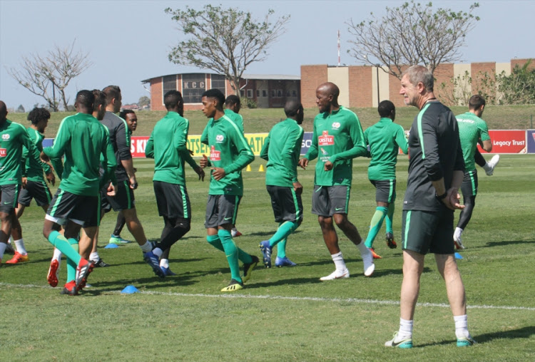 Stuart Baxter watches as his Bafana Bafana players go through their paces during the SA senior national men's soccer team training session at Princess Magogo Stadium in KwaMashu, Durban, on September 04, 2018.