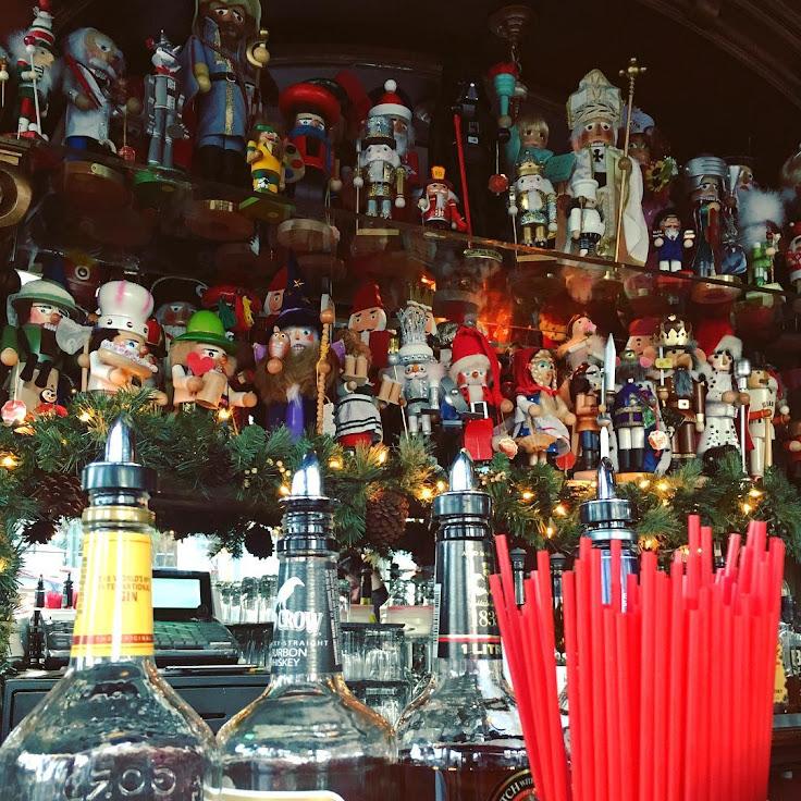Nutcrackers sit behind the bar inside Twin Peaks.