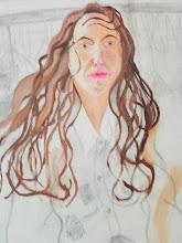 Photo: visage & chevelure peint, dessin préparatoire fait sur la toile à peindre (détail)