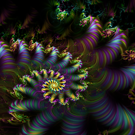 Seafloor by Cassy 67 - Illustration Abstract & Patterns ( digital, love, harmony, abstract art, trippy, spiral, abstract, fractals, digital art, flower, psychedelic, light, romantic, fractal, colorful, energy )