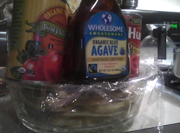 Place saran wrap over the dish and place heavy cans on top of the...