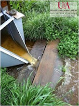 Photo: Runoff from flume after rainfall event (spring 2012)