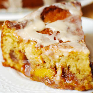 Peach Coffee Cake with Vanilla Glaze.