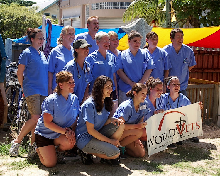 Photo: This is the wonderful team from World Vets 2012! They are doing a great job of helping to control the pet population of Ambergris Caye. If you see them about town give them a warm San Pedro Shout Out! Let them know how much we appreciate the good works they do.