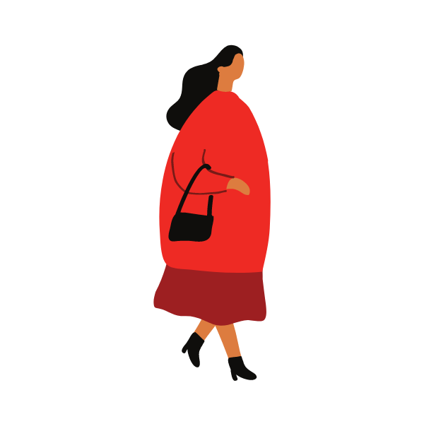Graphic of a woman walking with a handbag
