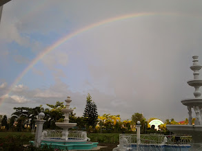 Photo: Nikki and I were so amazed with the rainbow and it seems that rainbows are normal occurrences here.