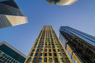 Photo: Looking up at the many skyscrapers of Shinbashi, Tokyo