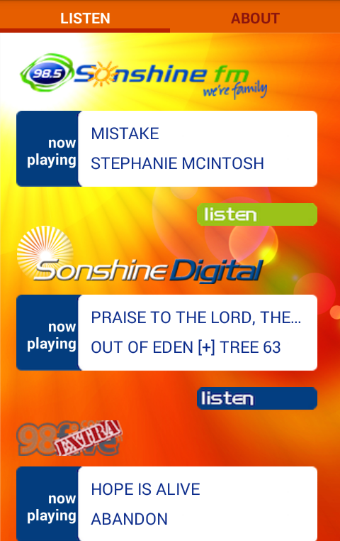 98five Sonshine FM- screenshot