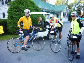 Photo: Day 54 Brattleboro VT to Manchester NH: KOA manager seeing us off at 7AM. One of the best KOA's we stayed at on the whole trip.