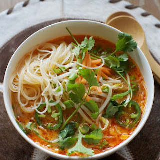 Spicy Thai Red Curry Noodle Soup.