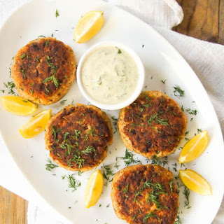 Salmon Burgers with Creamy Mustard-Dill Sauce