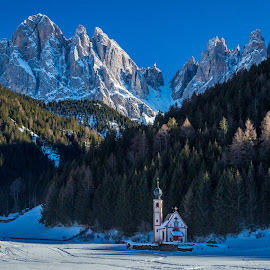 by Mario Horvat - Landscapes Mountains & Hills ( mountains, dolomites, snow, church, sunset, winter, dolomiti )