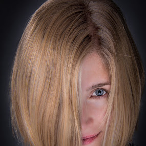'Ol One Eye by Christopher Mazzoli - People Portraits of Women ( blonde, girl, female, woman, blue eyes, portrait, best female portraiture )