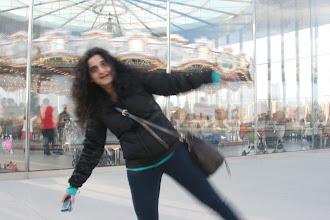 Photo: Leena outside Jane's Carousel.