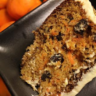 Rum Raisin Carrot Cake with Cream Cheese Frosting.