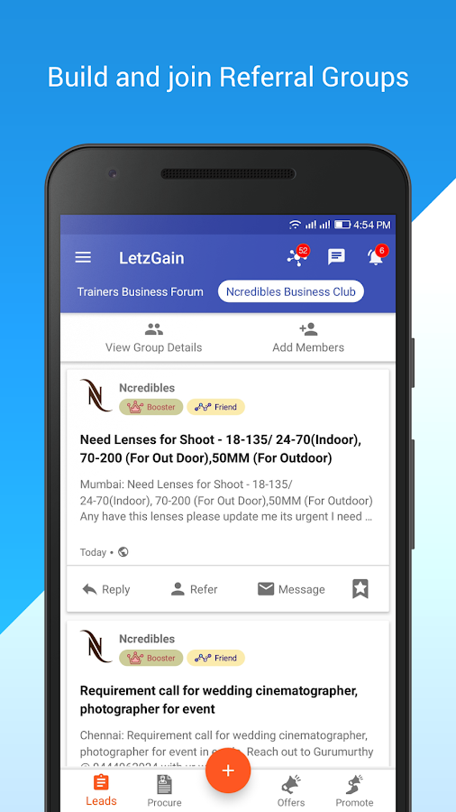 LetzGain: Grow Business and Network -B2B Leads App- screenshot